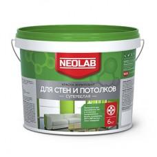 Акриловая супербелая краска ДЛЯ СТЕН И ПОТОЛКОВ, Neolab 6 кг